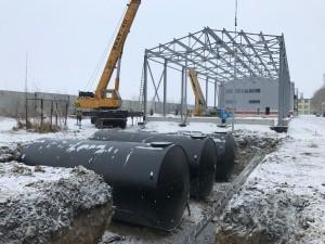 Монтаж противопожарных емкостей складского комплекса Обь